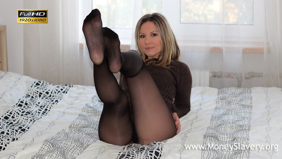Lick my sweet pantyhose feet